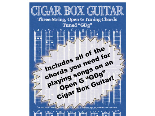 Blueprint-style 3-string Open G Chord Poster for Cigar Box Guitar ...