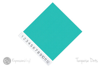 "12""x12"" Permanent Patterned Vinyl - Dots - Turquoise"