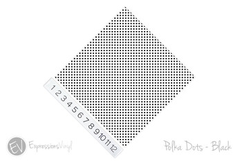"12""x12"" Permanent Patterned Vinyl - Polka Dots Black"