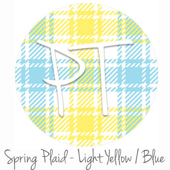 "12""x12"" Permanent Patterned Vinyl - Spring Plaid - Light Yellow/Blue"