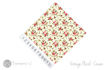 "12""x12"" Permanent Patterned Vinyl - Vintage Floral - Cream"