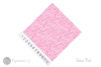 "12""x12"" Permanent Patterned Vinyl - Zebra - Pink"