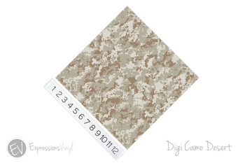 "12""x12"" Patterned Heat Transfer Vinyl - Digi Camo Desert"