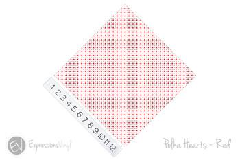 "12""x12"" Patterned Heat Transfer Vinyl - Polka Hearts - Red"