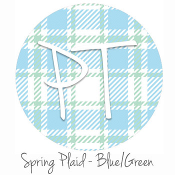"12""x12"" Patterned Heat Transfer Vinyl - Spring Plaid - Blue/Green"