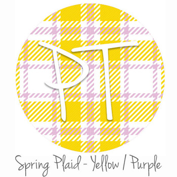 "12""x12"" Patterned Heat Transfer Vinyl - Spring Plaid - Yellow/Purple"