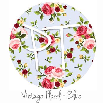 """12""""x12"""" Patterned Heat Transfer Vinyl - Vintage Floral - Blue"""