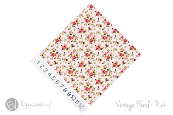 "12""x12"" Patterned Heat Transfer Vinyl - Vintage Floral - Pink"