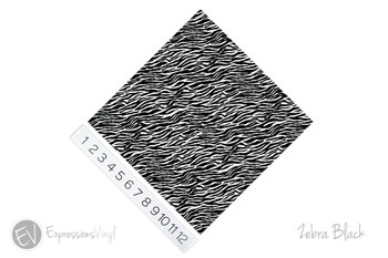 "12""x12"" Patterned Heat Transfer Vinyl - Zebra - Black"