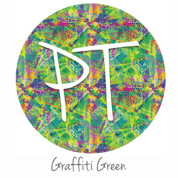 "12""x12"" Permanent Patterned Vinyl - Green Graffiti"