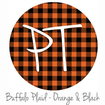 "12""x12"" Permanent Patterned Vinyl - Buffalo Plaid: Orange/Black"
