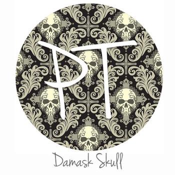 """12""""x12"""" Patterned Heat Transfer Vinyl - Damask Skulls"""