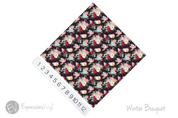 "12""x12"" Patterned Heat Transfer Vinyl - Winter Bouqet"