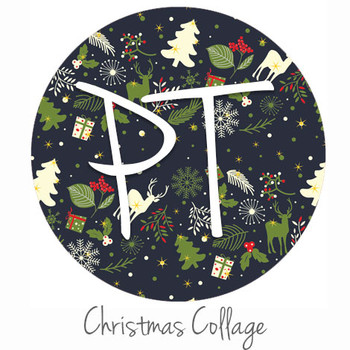 """12""""x12"""" Permanent Patterned Vinyl - Christmas Collage"""