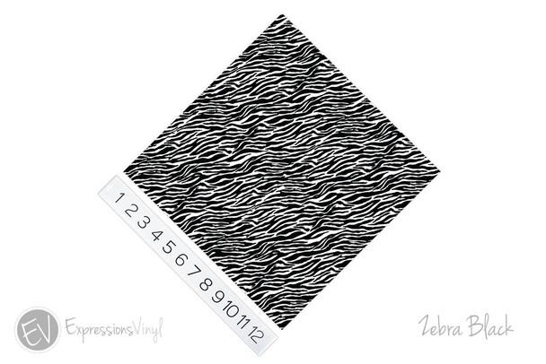 "12""x12"" Patterned Heat Transfer Vinyl - Zebra - Black"