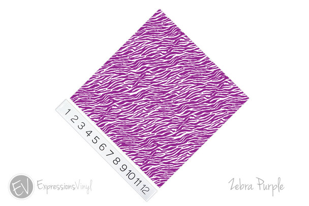 "12""x12"" Patterned Heat Transfer Vinyl - Zebra - Purple"