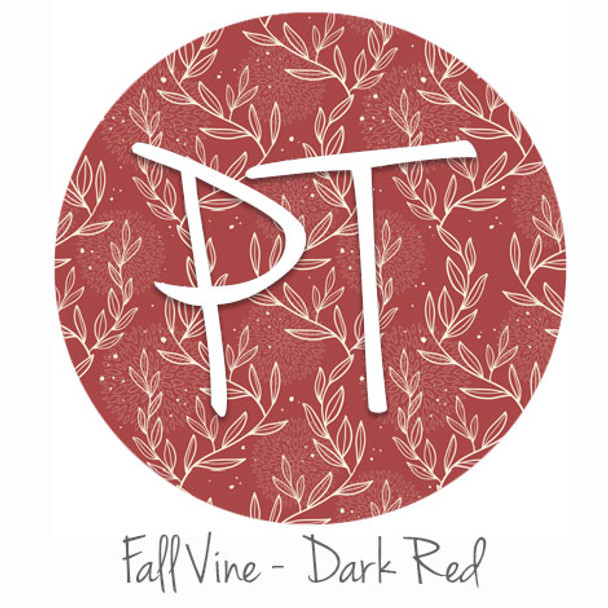"12""x12"" Permanent Patterned Vinyl - Fall Vine: Dark Red"
