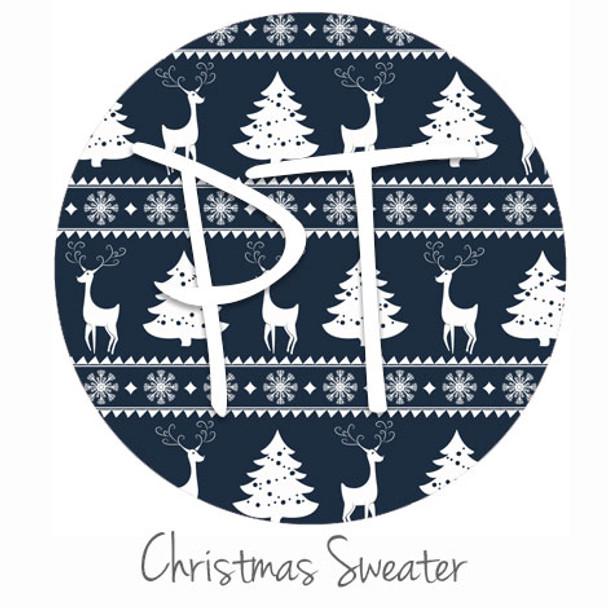 "12""x12"" Patterned Heat Transfer Vinyl - Blue Christmas Sweater"
