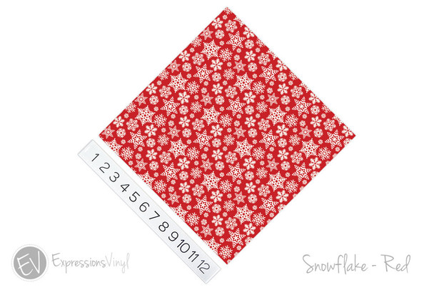"""12""""x12"""" Permanent Patterned Vinyl - Snowflakes - Red"""