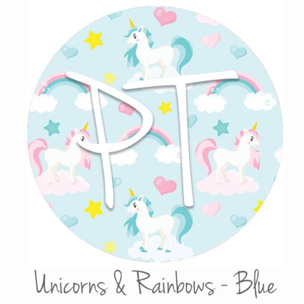"12""x12"" Patterned Heat Transfer Vinyl - Unicorns & Rainbows - Blue"
