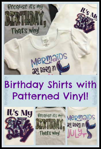 Birthday Shirts with Patterned Heat Transfer Vinyl