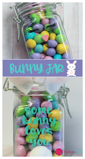 Easter bunny jar with vinyl