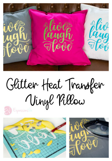 Using Siser Glitter Heat Transfer Vinyl on a Pillow.