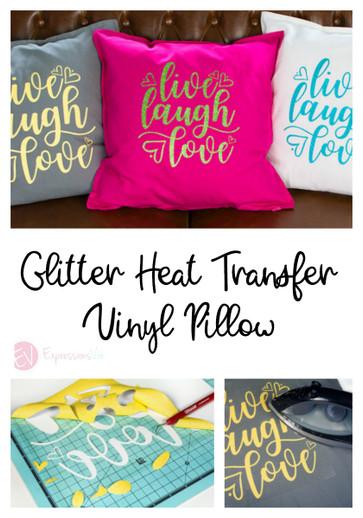 Using Siser Glitter Heat Transfer Vinyl on a Pillow.