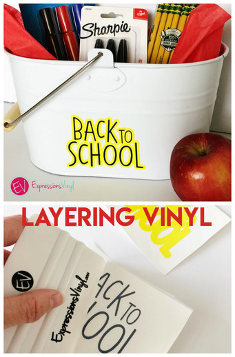 Back to school pail with adhesive vinyl
