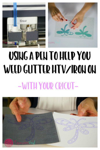 Using a Pen to Help Weed Glitter HTV - Cricut