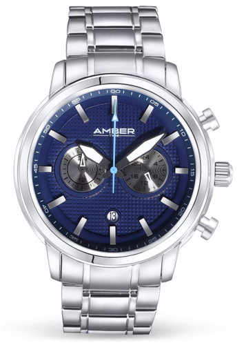 Amber Time Men's Quartz Chronograph Watch Stainless Steel Band 50m ATL160810-03BL Blue