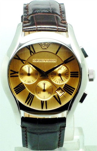 Emporio Armani Men's Gents Analog Quartz Chronograph Watch with Date and Brown Leather Strap - AR1634