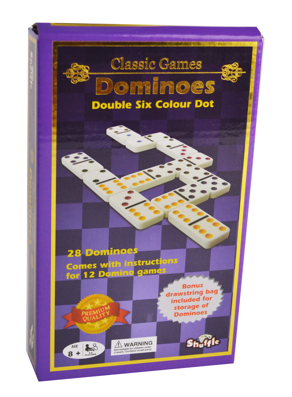 Shuffle Classic Coloured Dominoes Double 6 Uncle Petes Toys