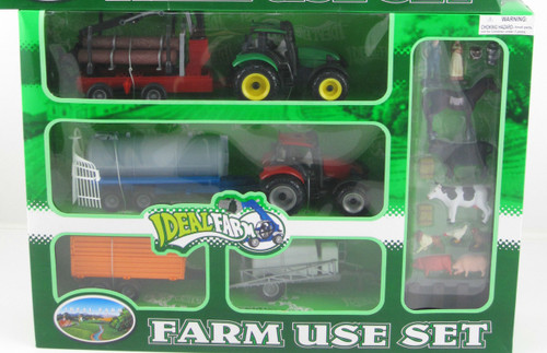 MY FARM TRACTOR & ANIMAL PLAY SET WITH LOG TRAILER