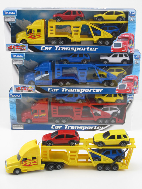 CAR TRANSPORTER WITH 3 CARS - RED