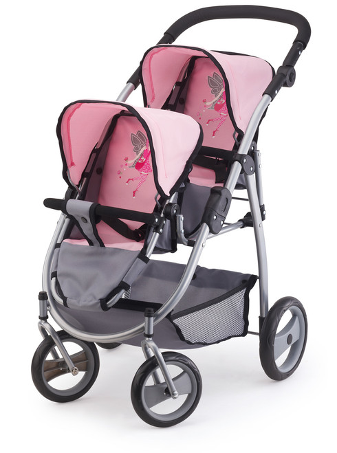 BAYER TWIN TANDEM PRAM - PINK & GREY