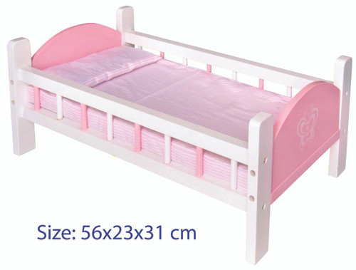 DOLL BED - (PINK) W/BEDDING