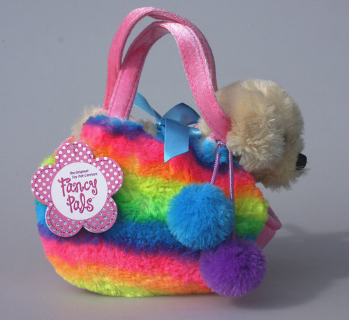FP PET CARRIER - DOG IN FLUFFY RAINBOW BAG