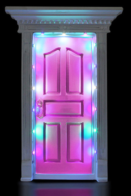 FAIRY DOOR DARK PINK W/LIGHTS