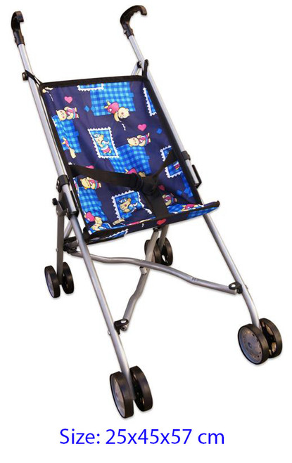 DOLL STROLLER BLUE BEAR