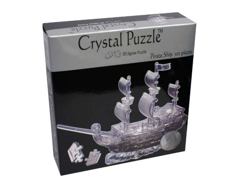 3D CLEAR PIRATE SHIP CRYSTAL