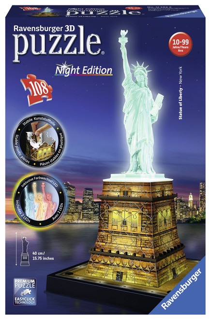 RAVENSBURGER -  STATUE OF LIBERTY 3D PUZZLE NIGHT