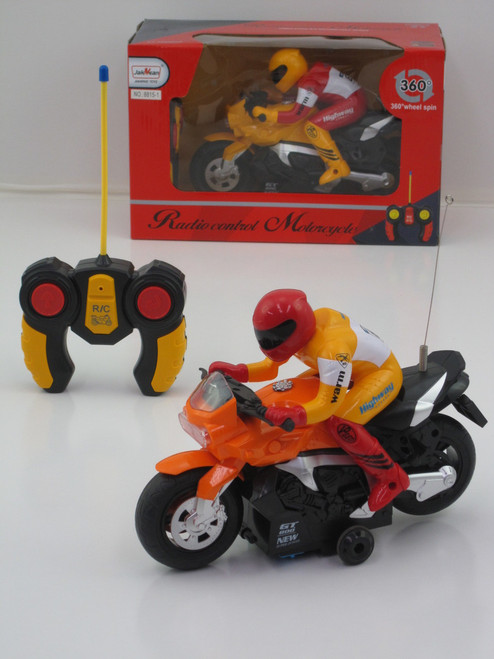 R/C RACING MOTORBIKE WITH RIDER - YELLOW 27MHZ