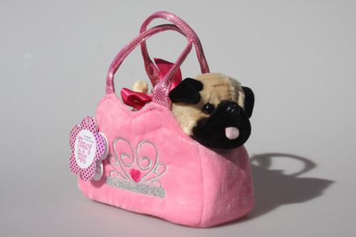 PUG IN PINK CROWN BAG