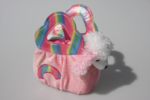 FP PET CARRIER - POODLE IN RAINBOW BAG