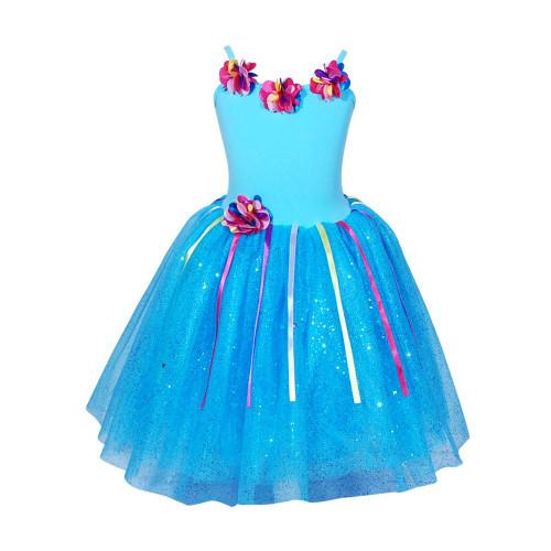 FLORAL PETAL DRESS 3-4 BLUE