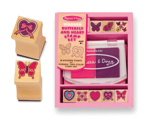 M&D  BUTTERFLY AND HEARTS STAMP SET