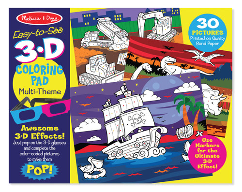 M&D EASY TO SEE 3D COLOURING PAD - BLUE