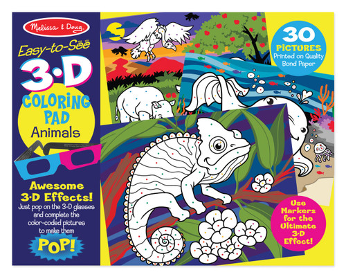 M&D EASY TO SEE 3D COLOURING PAD - ANIMALS