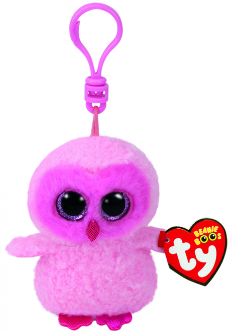 BEANIE BOOS CLIP ONS TWIGGY PINK  OWL